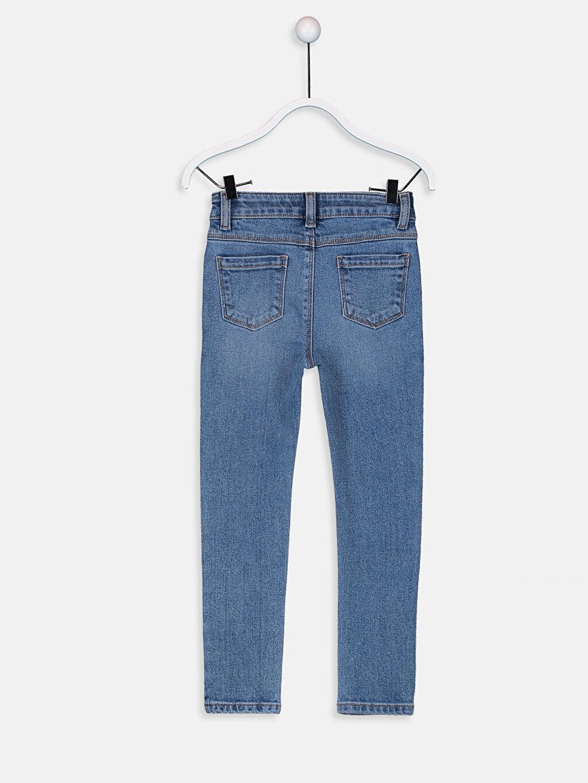 %99 Pamuk %1 Elastan Jean Düz Dar Paça Aksesuarsız Normal Bel Astarsız Dar Kız Çocuk Skinny Jean Pantolon