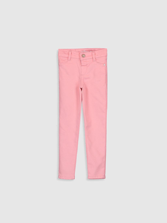 %68 Pamuk %29 Polyester %3 Elastan Normal Bel Dar Pantolon Düz Gabardin Kız Çocuk Skinny Pantolon