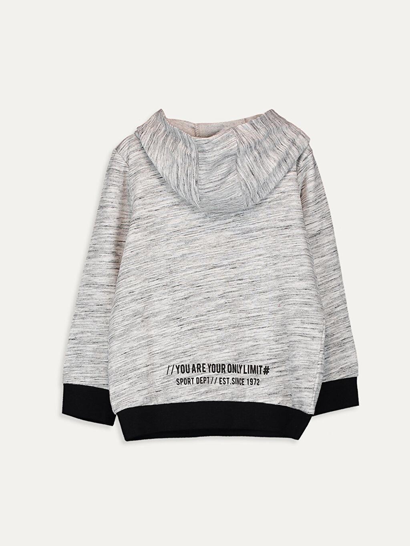 %77 Pamuk %23 Polyester  Erkek Çocuk Baskılı Kapüşonlu Sweatshirt