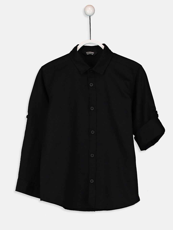 Siyah Erkek Çocuk Pamuklu Uzun Kollu Gömlek 9W7109Z4 LC Waikiki