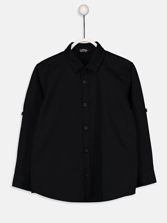 %100 Pamuk Aksesuarsız Gömlek Standart Uzun Kol Düz Gabardin Erkek Çocuk Pamuklu Uzun Kollu Gömlek
