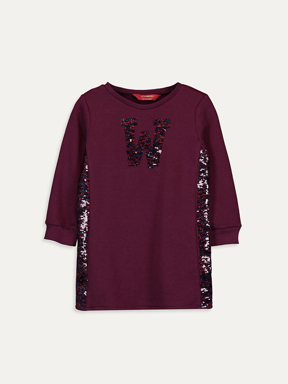 Bordo Kız Çocuk Pul İşlemeli Sweatshirt Elbise 9W7247Z4 LC Waikiki