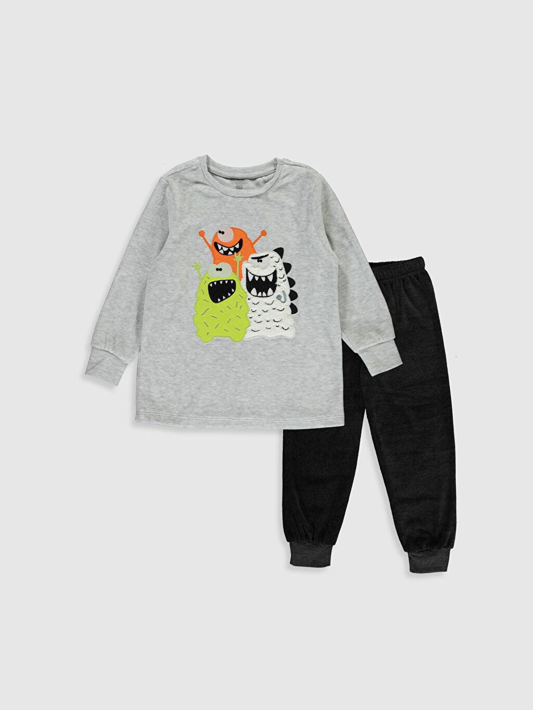 Gri Erkek Çocuk Baskılı Kadife Pijama Takımı 9W7719Z4 LC Waikiki