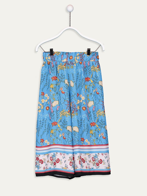 Mavi Kız Çocuk Desenli Viskon Pantolon 9W8108Z4 LC Waikiki