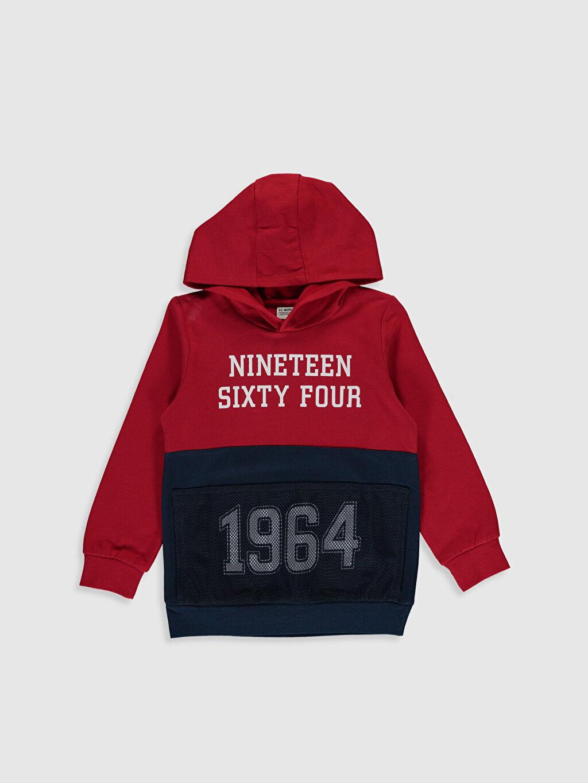 Lacivert Erkek Çocuk Yazı Baskılı Sweatshirt 9W8809Z4 LC Waikiki