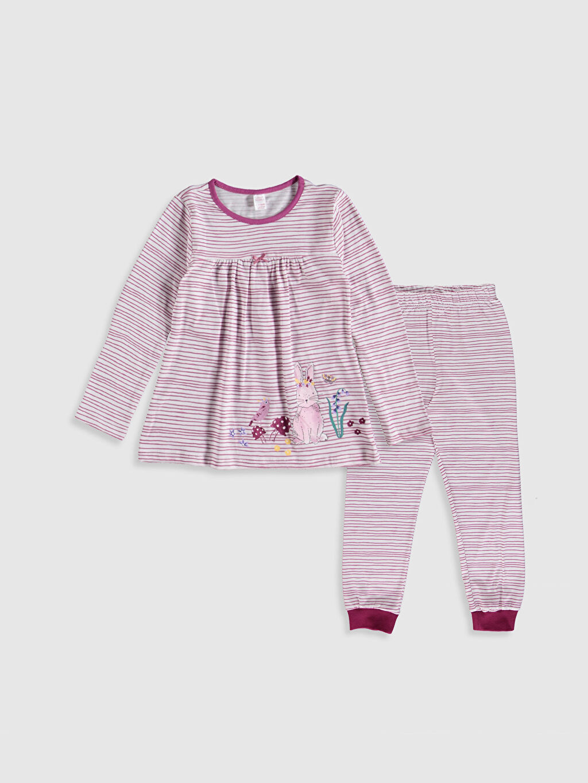 Ekru Kız Çocuk Baskılı Pamuklu Pijama Takımı 9WG281Z4 LC Waikiki