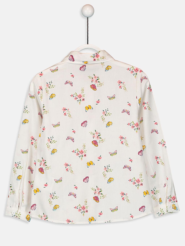 %100 Pamuk  Kız Çocuk Desenli Pamuklu Gömlek