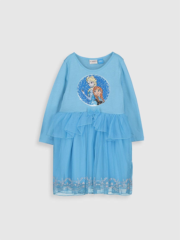 %100 Pamuk Mini Baskılı Kız Çocuk Çift Yönlü Payetli Frozen Elbise