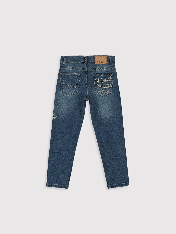%99 Pamuk %1 Elastan Baskılı Beş Cep Aksesuarsız Normal Bel Astarsız Dar Jean Erkek Çocuk Slim Jean Pantolon