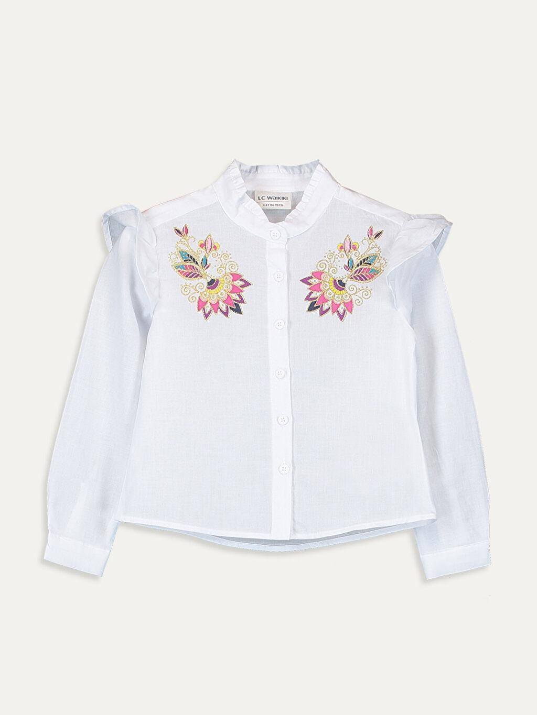 Beyaz Kız Çocuk Nakışlı Pamuklu Gömlek 9WG746Z4 LC Waikiki