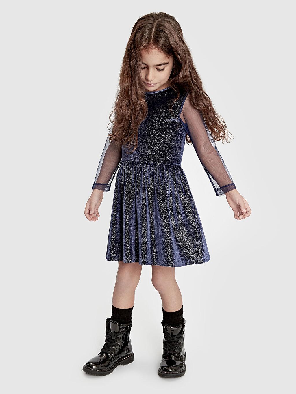 Kız Çocuk Kız Çocuk Işıltılı Kadife Elbise
