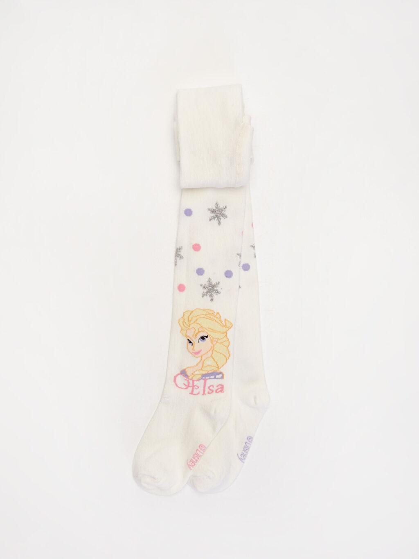 Ekru Kız Çocuk Frozen Baskılı Külotlu Çorap 9WH163Z4 LC Waikiki