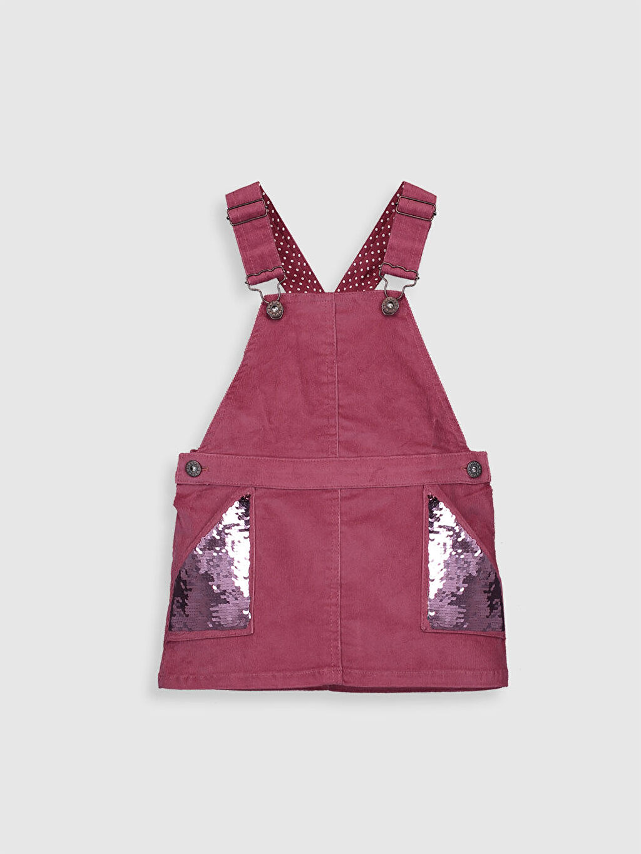 %98 Pamuk %2 Elastan %100 Pamuk Kolsuz Elbise Baskılı Diz Üstü Kız Çocuk Çift Yönlü Payetli Kadife Elbise
