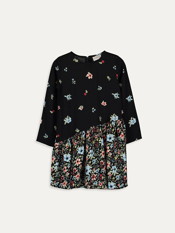 Siyah Kız Çocuk Çiçekli Viskon Elbise 9WH770Z4 LC Waikiki