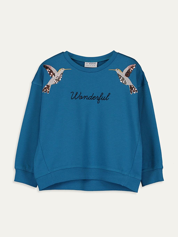 Mavi Kız Çocuk Nakışlı Sweatshirt 9WH885Z4 LC Waikiki