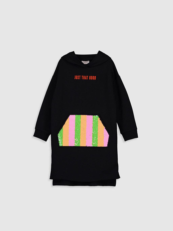 %80 Pamuk %20 Polyester İki İplik İçi Tüylü Elbise Baskılı Diz Üstü Kız Çocuk Çift Yönlü Payetli Kapüşonlu Elbise