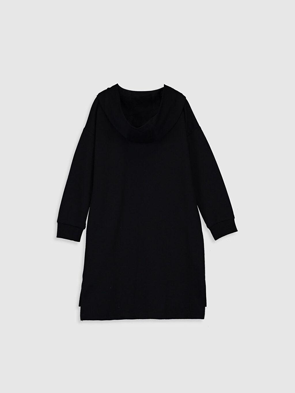 %80 Pamuk %20 Polyester Kız Çocuk Çift Yönlü Payetli Kapüşonlu Elbise