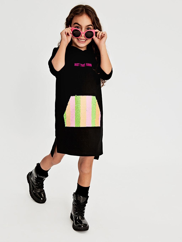 Siyah Kız Çocuk Çift Yönlü Payetli Kapüşonlu Elbise 9WI053Z4 LC Waikiki