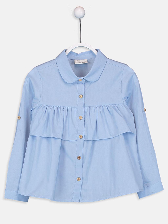 Mavi Kız Çocuk Volan Detaylı Poplin Gömlek 9WI497Z4 LC Waikiki