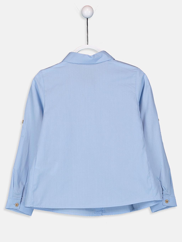 %100 Pamuk Düz Poplin Aksesuarsız Gömlek Gömlek Yaka Kız Çocuk Volan Detaylı Poplin Gömlek