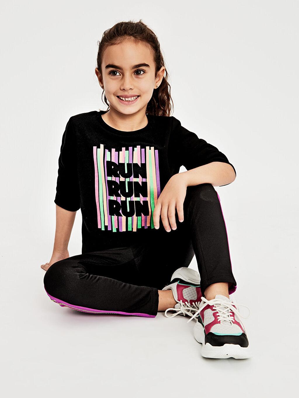 Siyah Kız Çocuk Baskılı Sweatshirt 9WI559Z4 LC Waikiki