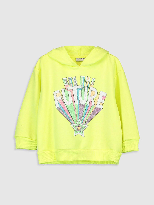 %43 Pamuk %57 Polyester Kapüşon Yaka Üç İplik Sweatshirt Kapüşonlu Düz Kız Çocuk Yazı Baskılı Kapüşonlu Sweatshirt