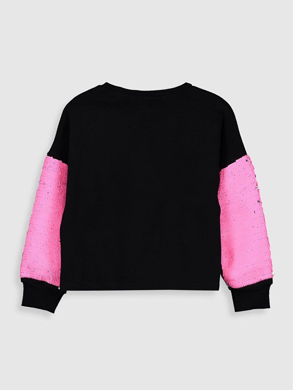 %68 Pamuk %32 Polyester Kız Çocuk Çift Yönlü Payetli Sweatshirt