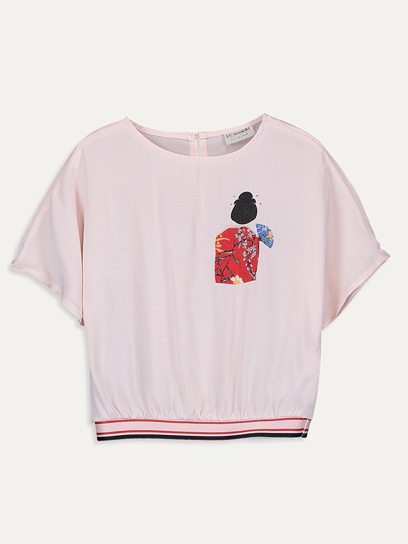 Pembe Kız Çocuk Baskılı Viskon Bluz 9WJ009Z4 LC Waikiki