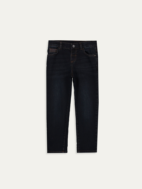 %99 Pamuk %1 Elastan Aksesuarsız Normal Bel Astarsız Dar Jean Baskılı Beş Cep Erkek Çocuk Slim Jean Pantolon