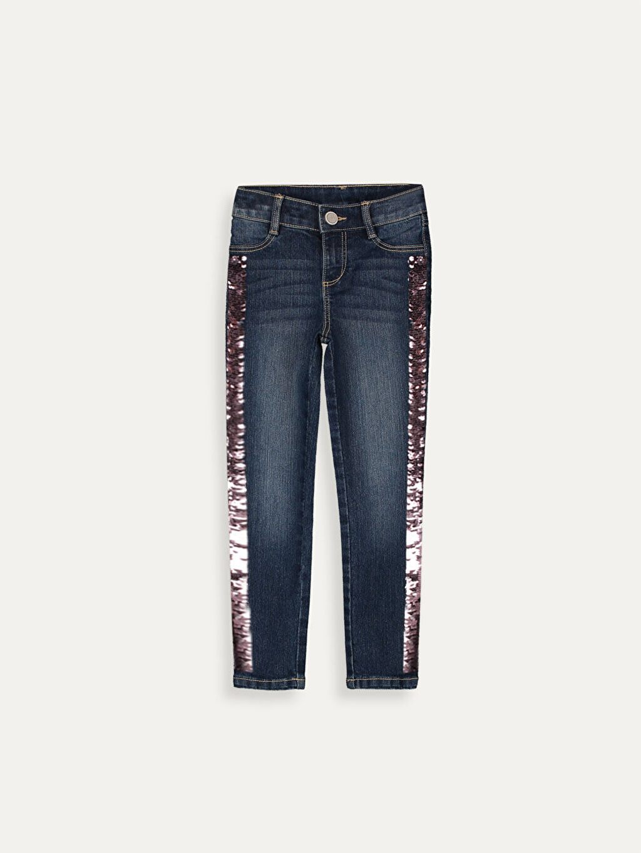 %79 Pamuk %20 Polyester %1 Elastan Dar Normal Bel Kız Çocuk Pul Payetli Jean Pantolon