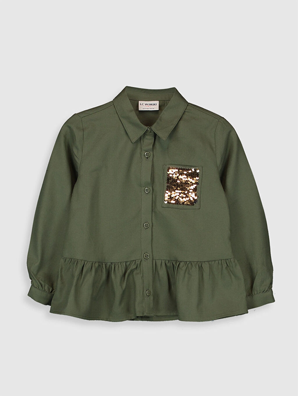 %100 Pamuk  Kız Çocuk Fırfırlı Pamuklu Gömlek