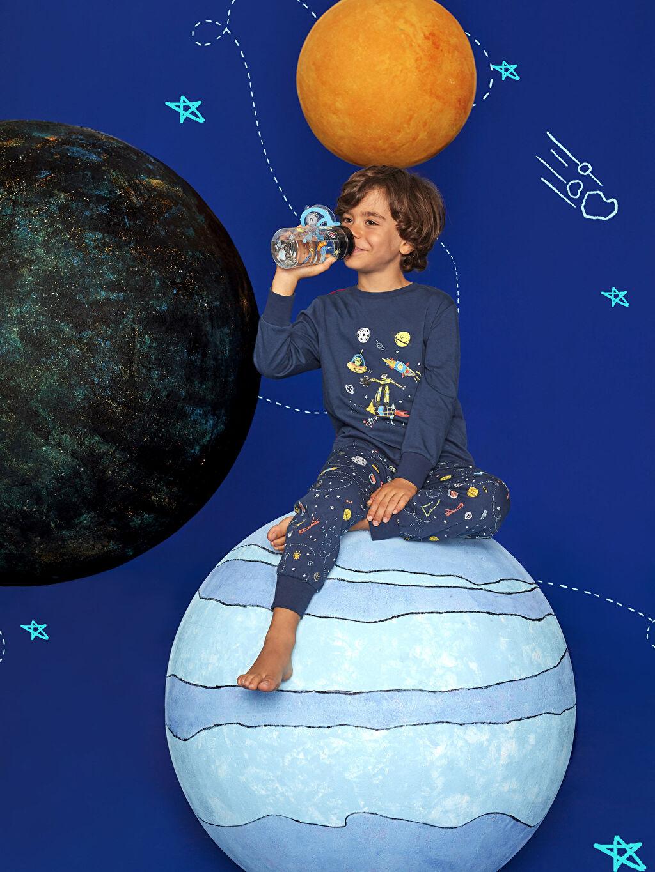 Erkek Çocuk Erkek Çocuk Baskılı Pamuklu Pijama Takımı ve Pelerin