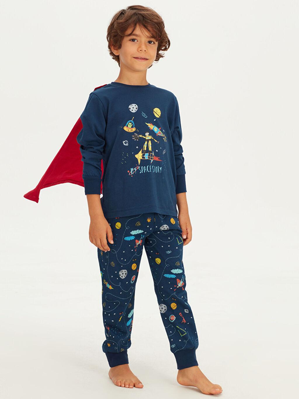 %100 Pamuk Erkek Çocuk Baskılı Pamuklu Pijama Takımı ve Pelerin
