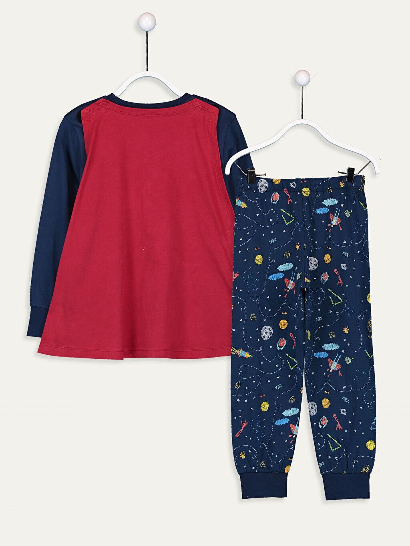 9WK263Z4 Erkek Çocuk Baskılı Pamuklu Pijama Takımı ve Pelerin
