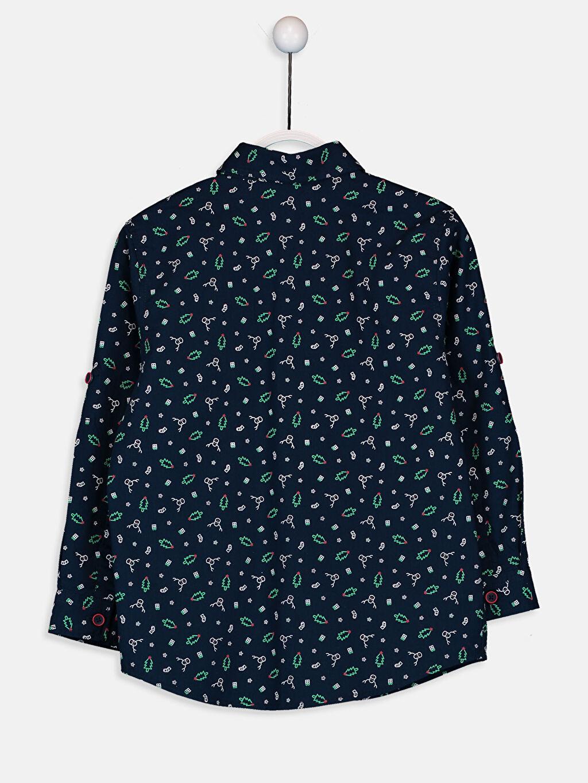 %100 Pamuk Baskılı Standart Uzun Kol Erkek Çocuk Desenli Pamuklu Gömlek