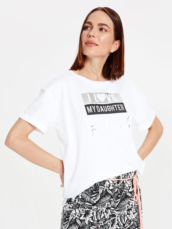 Beyaz Yazı Baskılı Pamuklu Tişört 9WM684Z4 LC Waikiki
