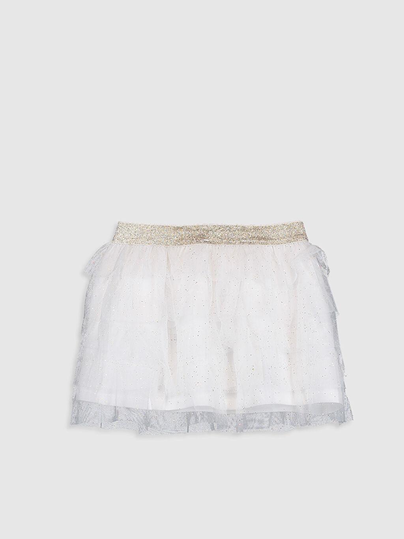 %100 Polyester %96 Pamuk %4 Elastan Standart Etek Düz Kız Çocuk Işıltılı Tül Etek