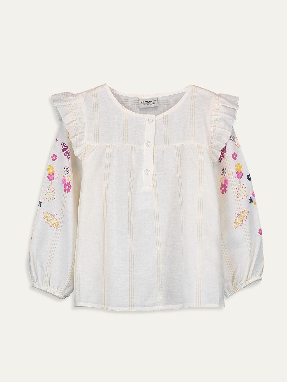 Ekru Kız Çocuk Çiçekli Pamuklu Bluz 9WP138Z4 LC Waikiki