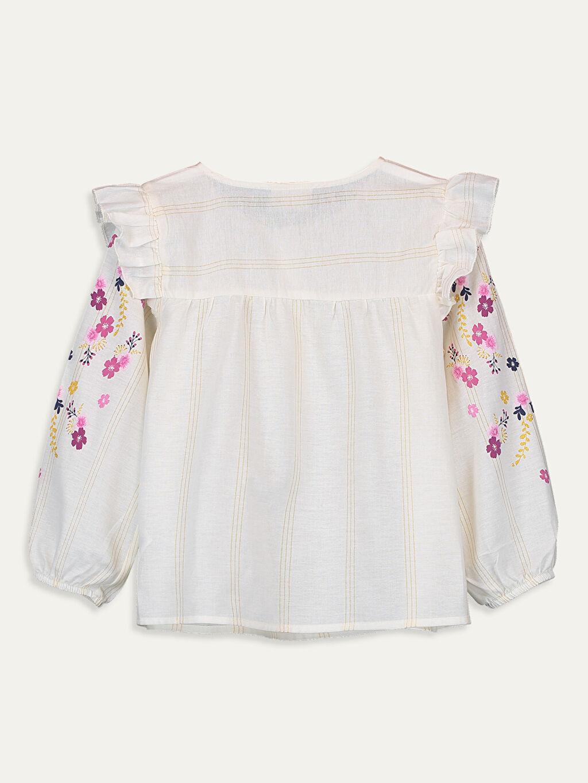 %98 Pamuk %1 Polyester %1 Metalik iplik Standart Desenli Uzun Kol Bluz Kız Çocuk Çiçekli Pamuklu Bluz