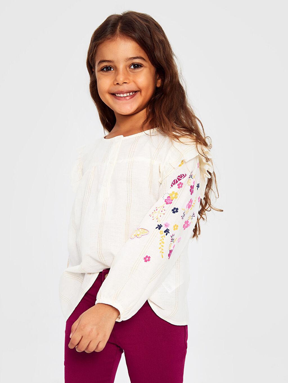 Kız Çocuk Kız Çocuk Çiçekli Pamuklu Bluz