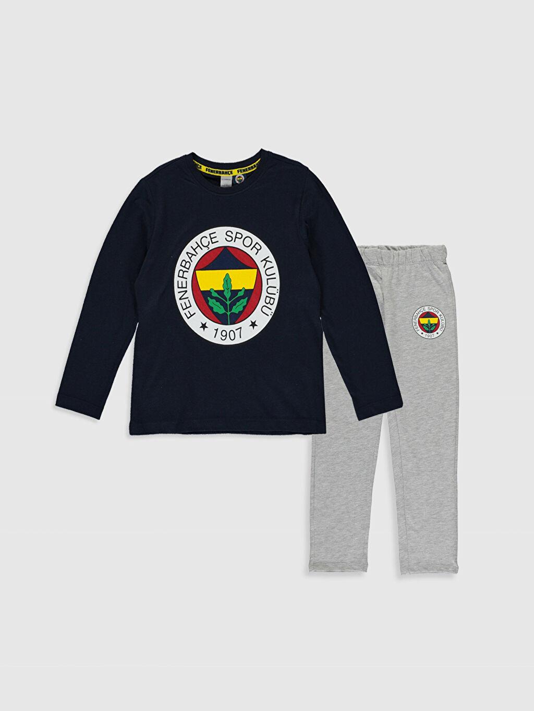 Lacivert Kız Çocuk Fenerbahçe Amblemli Pamuklu Pijama Takımı 9WQ161Z4 LC Waikiki