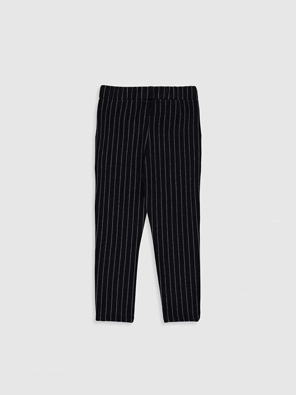 %69 Polyester %30 Viskoz %1 Elastan Eşofman Altı Çizgili Standart Çelikli İnterlok Standart Normal Bel Uzun Kız Çocuk Çizgili Örme Pantolon