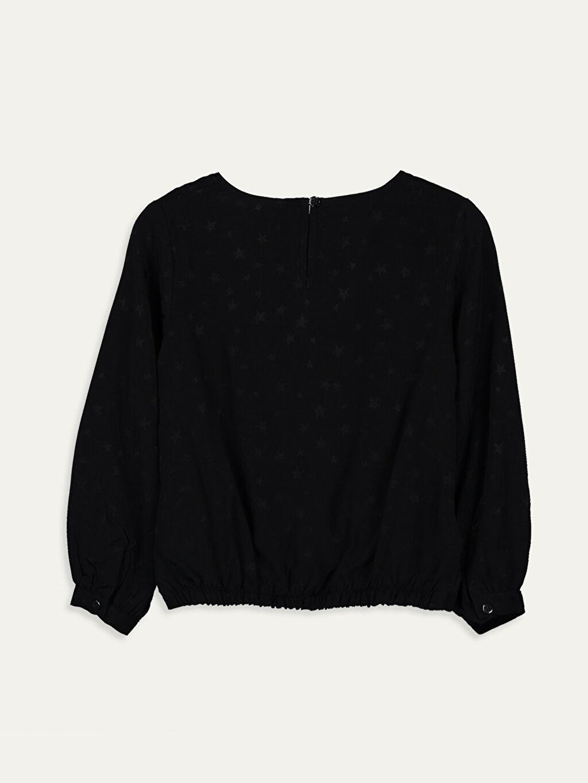 %100 Viskoz Standart Desenli Uzun Kol Bluz Kız Çocuk Viskon Bluz