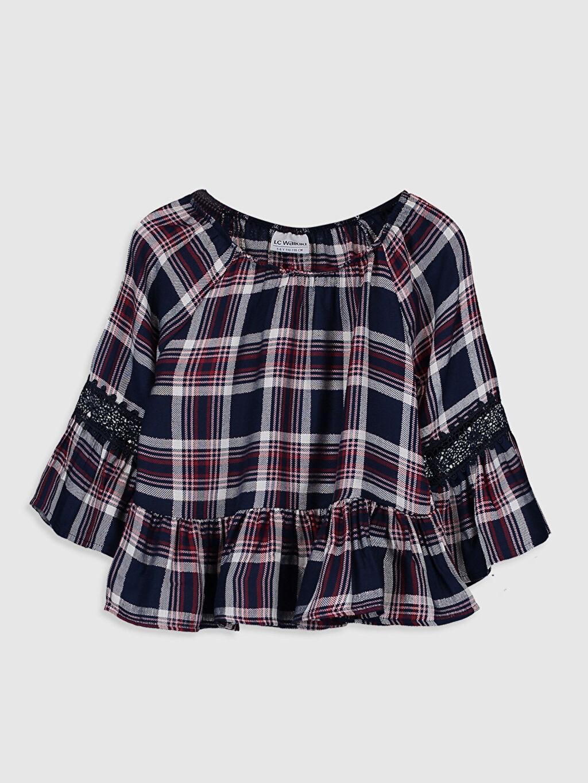 Lacivert Kız Çocuk Ekose Viskon Bluz 9WQ731Z4 LC Waikiki