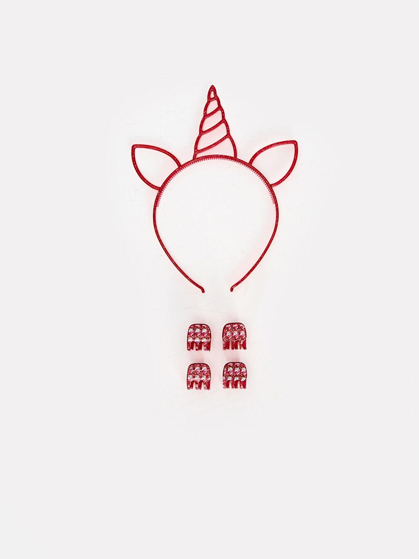 Çok Renkli Kız Çocuk Unicorn Taç ve Toka Seti 9WS712Z4 LC Waikiki