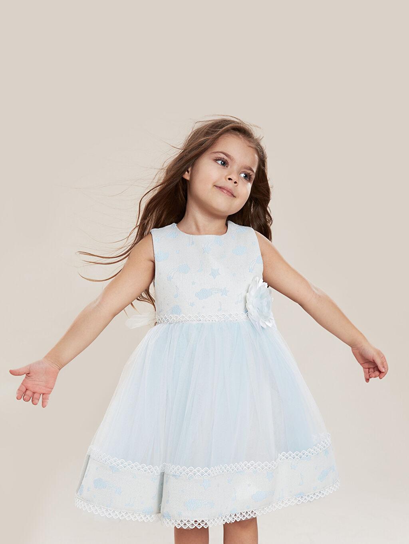 Mavi Daisy Girl Kız Bebek Desenli Abiye Elbise 9WB682Z4 LC Waikiki