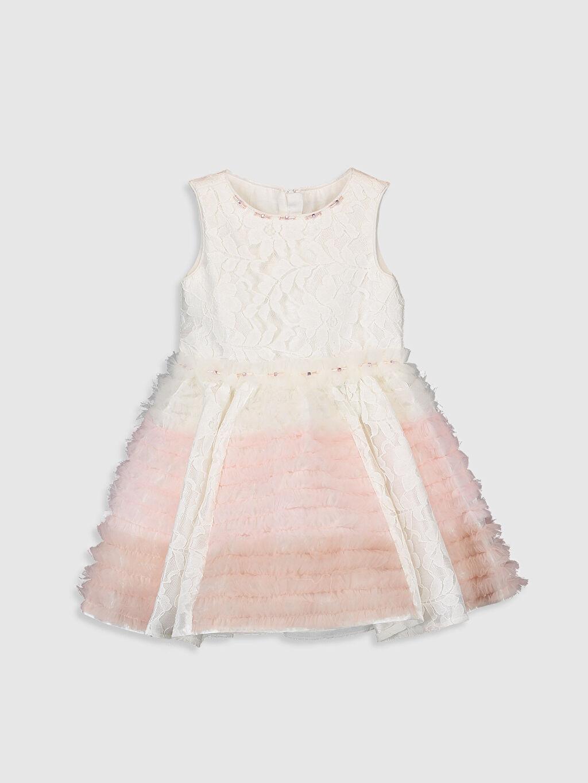 Baskılı Elbise Daisy Girl Kız Çocuk Dantel Detaylı Abiye Elbise