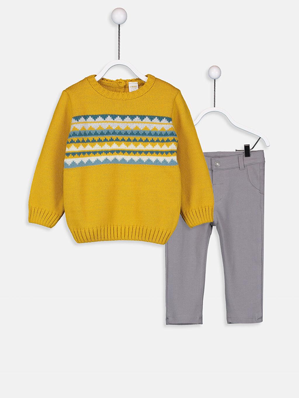 Sarı Erkek Bebek Kalın Triko Kazak Ve Pantolon 9W0072Z1 LC Waikiki