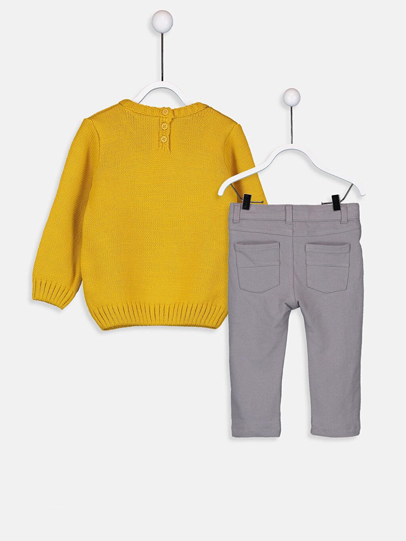 %100 Akrilik %76 Pamuk %18 Polyester %6 Elastan %100 Pamuk Standart Takım Erkek Bebek Kalın Triko Kazak Ve Pantolon