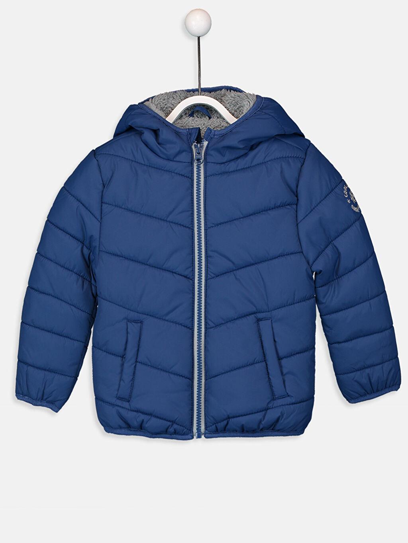 %100 Poliamid %100 Polyester Mont Kalın Standart Tafetta Polar Astar Kapüşonlu Düz Erkek Bebek Kapüşonlu Kalın Kaban